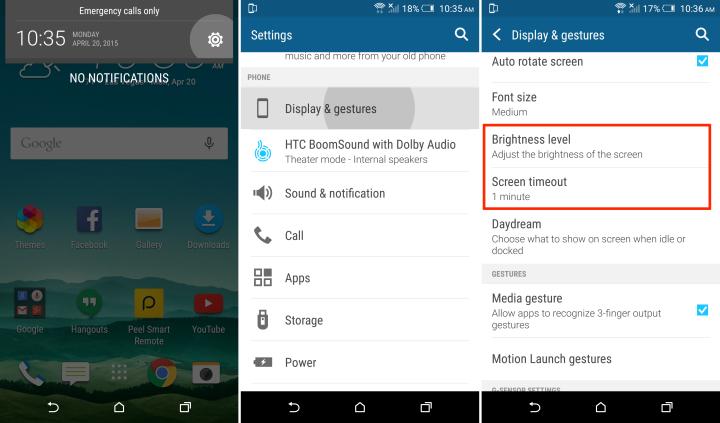 время работы батареи HTC One M9