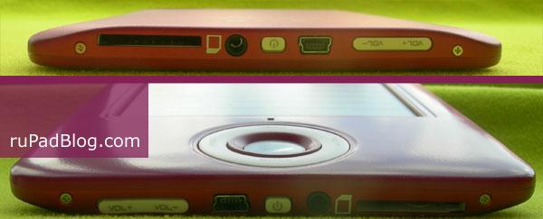 На нижем торце - регулятор звука, USB, кнопка питания, гнездо для наушников, слот для карт памяти SD/MMC/SDHC/SDC